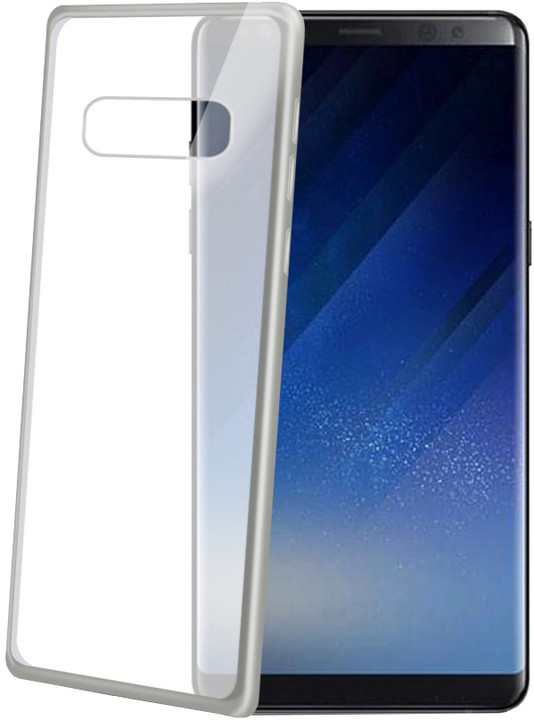 CELLY Laser TPU pouzdro - lemování s matným kovovým efektem pro Samsung Galaxy Note 8, stříbrné