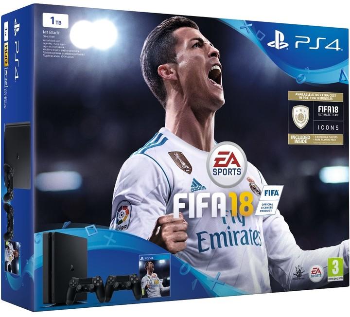 PlayStation 4 Slim, 1TB, černá + 2x DualShock 4 v2 + FIFA 18