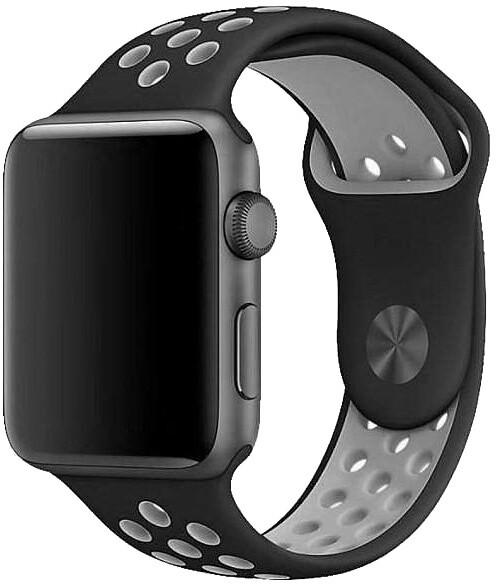 COTEetCI řemínek Sports Dot pro Apple Watch, silikonový, 42 - 44mm, černo/šedá
