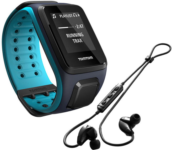 TOMTOM Runner 2 Cardio + Music (velikost L), modrá/modrá + bluetooth sluchátka