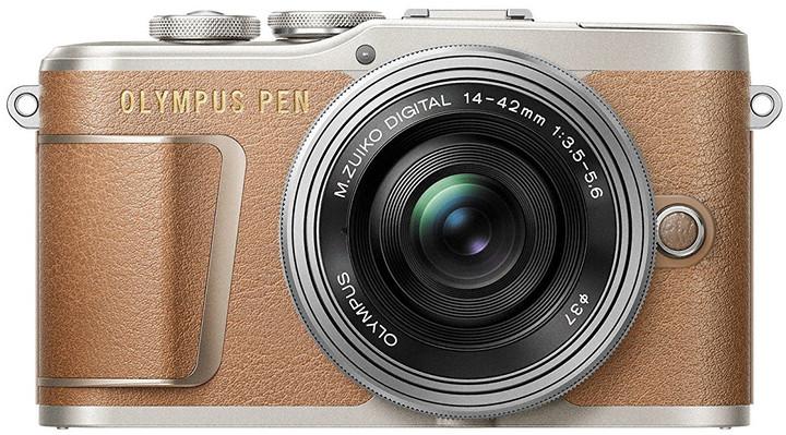 Olympus E-PL9 + 14-42mm, hnědá/stříbrná, Traveler Kit