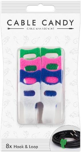 Cable Candy kabelový organizér Hook&Loop, 8ks, různé barvy