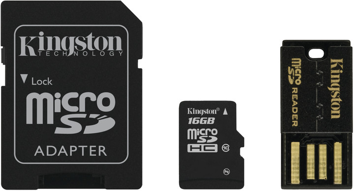 Kingston Micro SDHC 16GB Class 10 + SD adaptér + USB čtečka