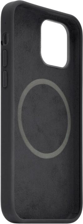 FIXED tvrzený silikonový kryt MagFlow pro iPhone 12/12 Pro, komaptibilní s MagSafe, černá