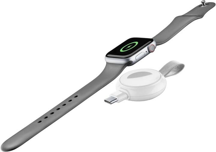CellularLine nabíječka Power Pill pro Apple Watch, Qi, s USB adaptérem, bílá