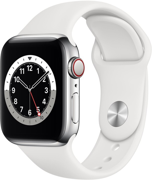 Apple Watch Series 6 Cellular, 44mm, Silver Stainless Steel, White Sport Band - Regular