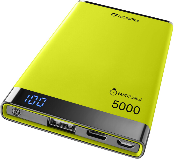 CellularLine powerbanka FREEPOWER MANTA S 5000mAh, USB-C + USB port, žlutá