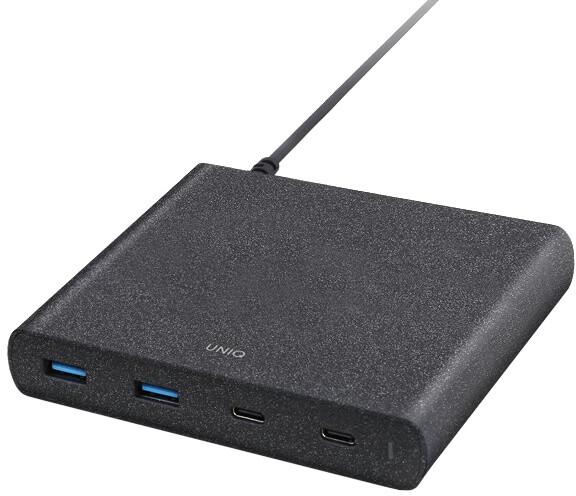 UNIQ nabíjecí stanice 90W 4 USB, 2x USB-C PD | QC 3.0, charcoal (černá)