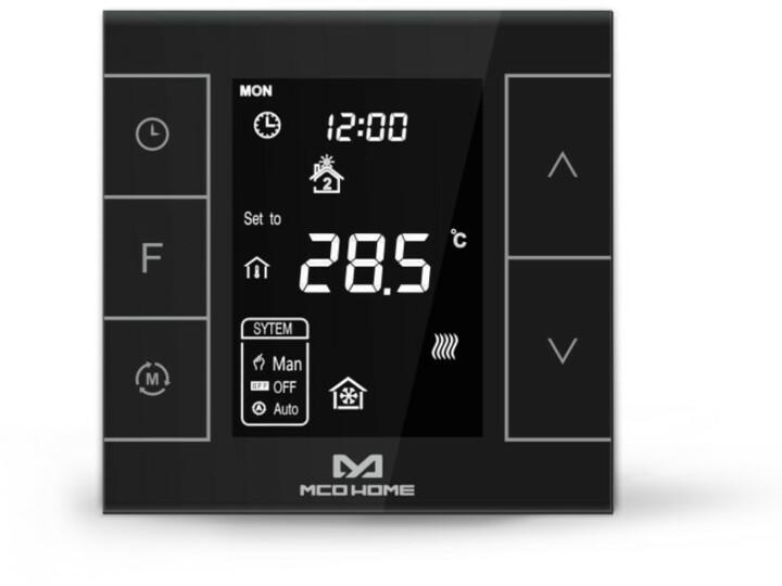 MCOHome Termostat pro vodní topení a kotle V2, Z-Wave Plus, černý