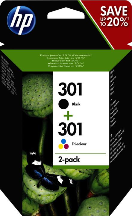 HP N9J72AE No.301 combo pack, černá a 3-barená