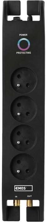 Emos přepěťová ochrana, 4 zásuvky, 2m, černá