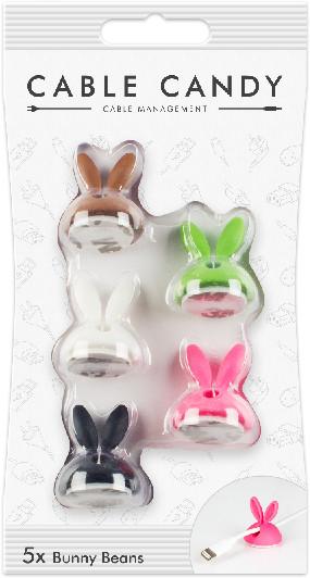 Cable Candy kabelový organizér Bunny Beans, 5 ks, různé barvy