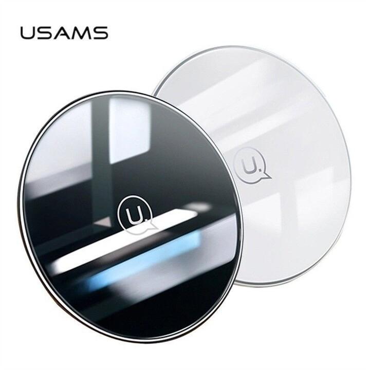 USAMS CD55 skleněný bezdrátový dobíječ (EU Blister), černá