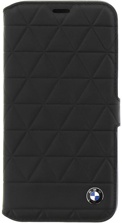 BMW Hexagon kožené pouzdro typu kniha pro iPhone X, černé