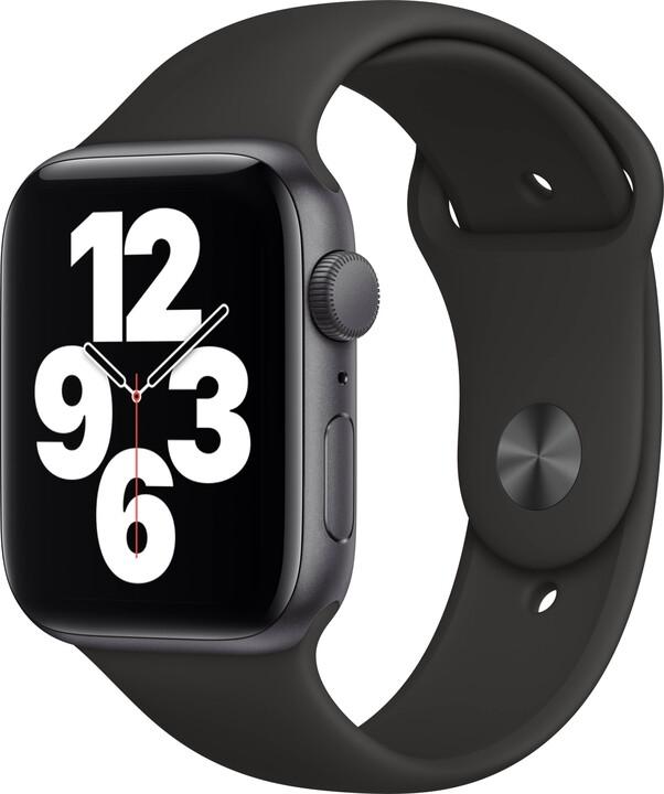 Apple Watch SE, 44mm, Space Gray, Black Sport Band