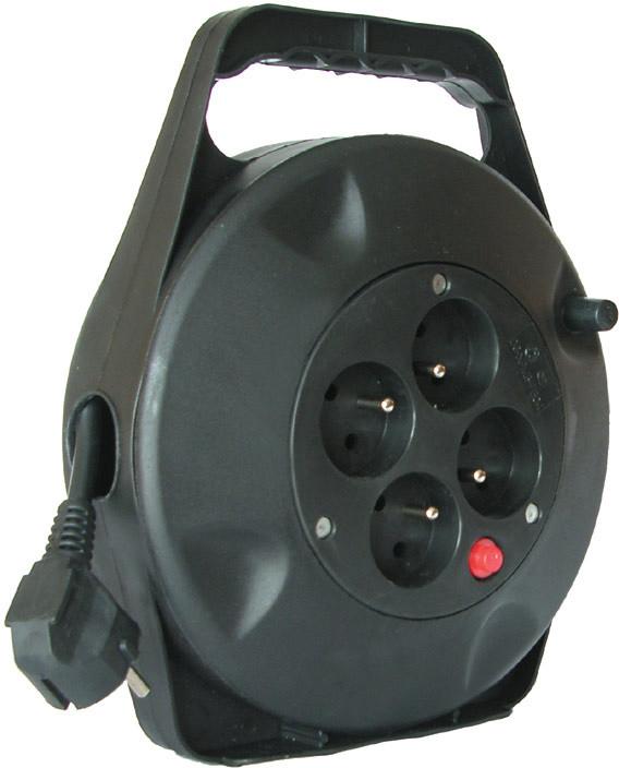 Prodlužovací kabel 230V 10m - 4x zásuvka, černý, na bubnu