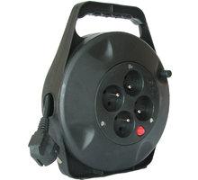 Prodlužovací kabel 230V 10m - 4x zásuvka, černý, na bubnu - PB21