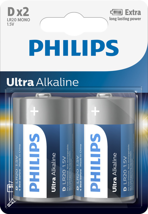 Philips D ExtremeLife+, alkalická - 2ks
