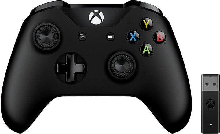 Xbox ONE S Bezdrátový ovladač, černý + bezdrátový adaptér pro Win 10 v2 (PC, Xbox ONE)
