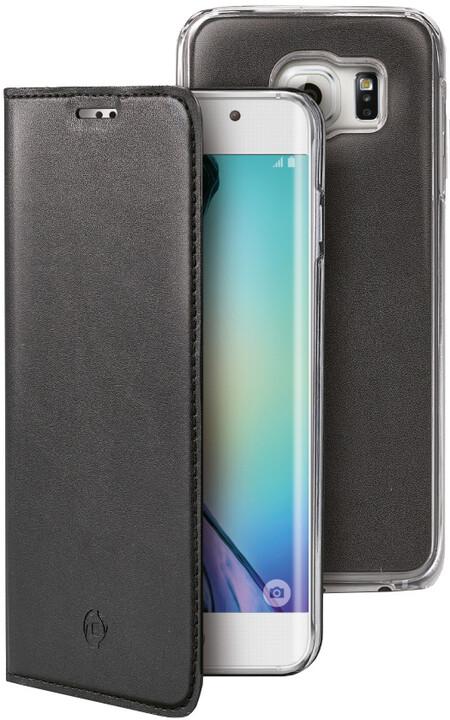 CELLY Buddy pouzdro pro Samsung Galaxy S6 Edge, PU kůže, černá