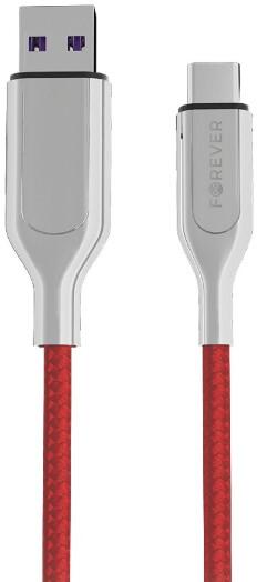 Forever CORE datový kabel USB-C, 5A, 1m, textilní, červená