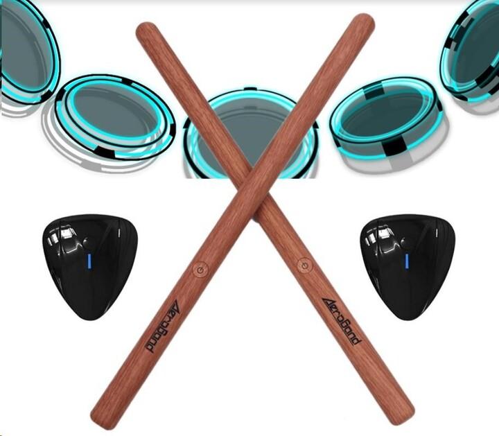 Smart Bubnovací Paličky AeroBand PocketDrum 2 KIT + senzor na nohu - barva dřevo