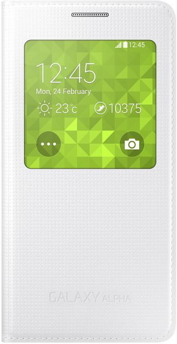 Samsung S-view EF-CG850B flipové pouzdro pro Galaxy Alpha (SM-G850), bílá