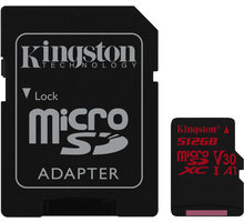 Kingston Micro SDXC Canvas React 512GB 100MB/s UHS-I U3 + SD adaptér