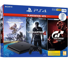 PlayStation 4 Slim, 1TB, černá + Gran Turismo Sport + Horizon Zero Dawn + Uncharted 4