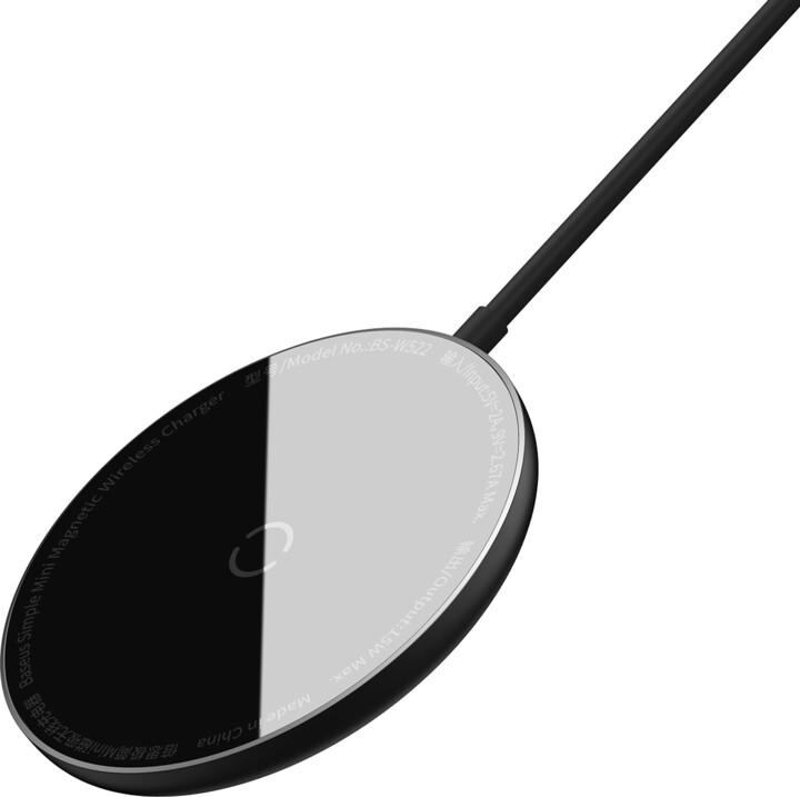 Baseus bezdrátová nabíječka Simple Mini Magnetic, 15W, černá + USB-C kabel, PD, 1.5m