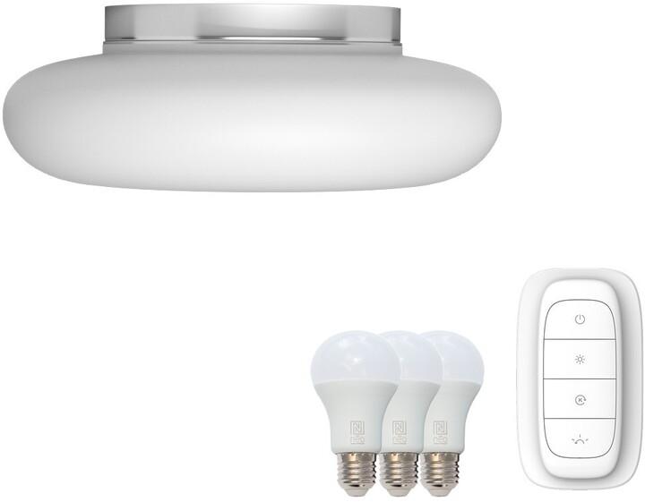 IMMAX NEO FUENTE stropní svítidlo bílé sklo 40cm včetně Smart zdroje 3xE27 RGBW