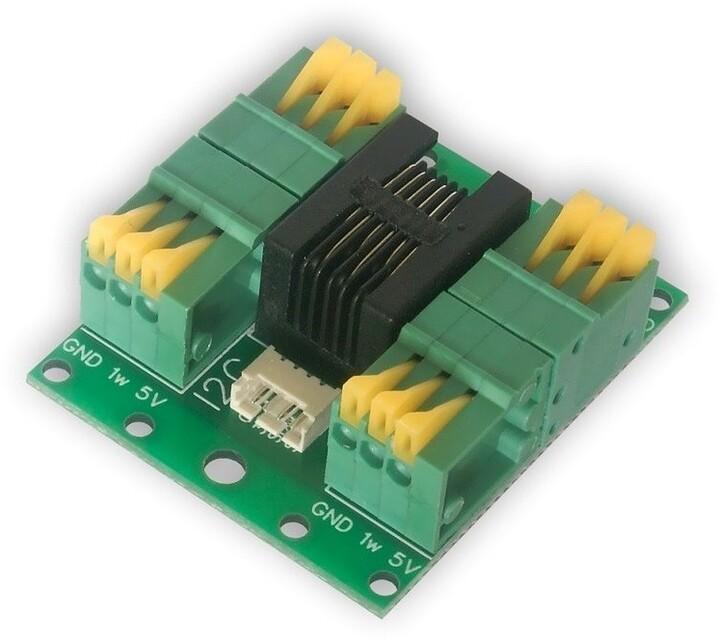 Tinycontrol LANKON-062 splitter kabelový, 4x svorkovnice, 1x RJ12, 1x l2C, pro DS18B20, LAN ovladač
