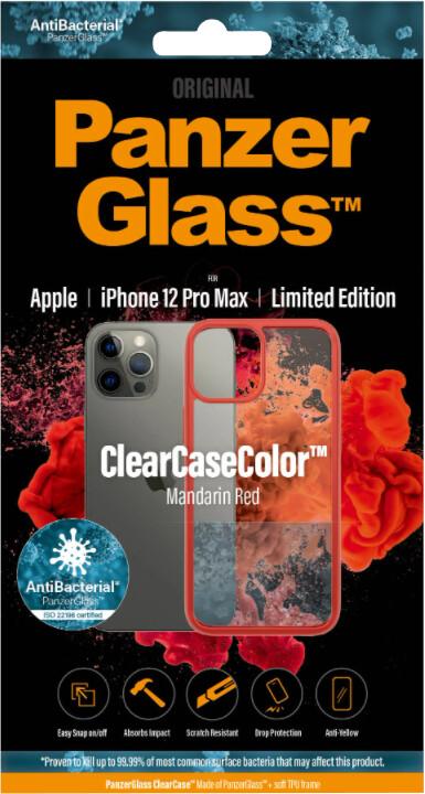 PanzerGlass ochranný kryt ClearCase pro iPhone 12 Pro Max, antibakteriální, červená