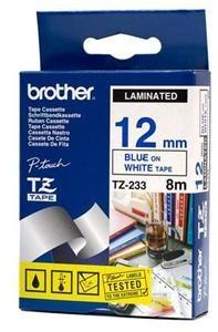 Brother TZE-233, bílá/modrá, 12mm