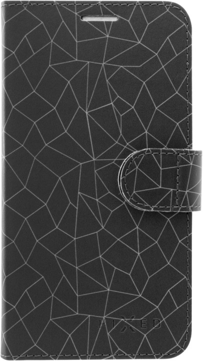 FIXED FIT pouzdro typu kniha pro Apple iPhone XR, motiv Grey Mesh