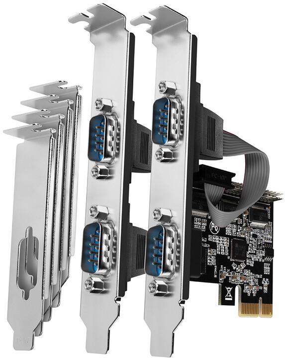 AXAGON PCEA-S4N, PCIe řadič - 4x sériový port (RS232) 250 kbps, vč. LP