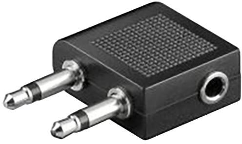 PremiumCord sluchátkový adaptér do letadla, 2x mono 3.5 jack M -> stereo 3.5 jack F