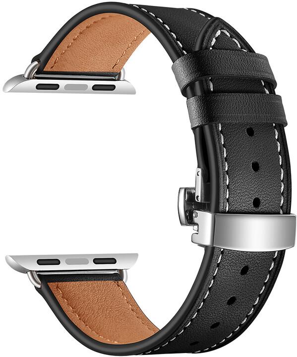 MAX kožený řemínek pro Apple Watch 4/5, 40mm, černá