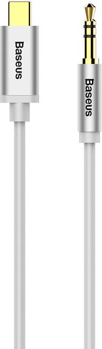 BASEUS kabel audio Yiven Series, USB-C - Jack 3.5mm, M/M, 1.2m, stříbrná