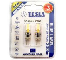 TESLA LED žárovka G4, 2W, 4000K, denní bílá, 2ks v balení - G4000240-PACK2