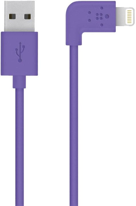 Belkin Mixit s Lightning konektorem, 90°, 1.2m, fialová