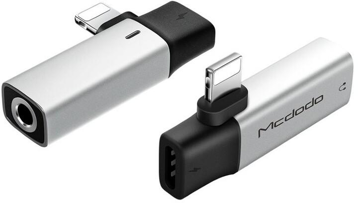 Mcdodo adaptér Dual Lightning - audio 3.5mm, stříbrná