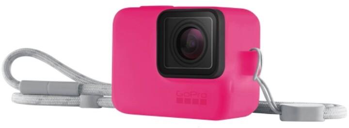 GoPro Sleeve + Lanyard (Silikonový obal neonově růžový)