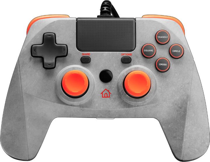 Snakebyte Game:Pad 4 S, šedý/oranžový (PS4, PS3)