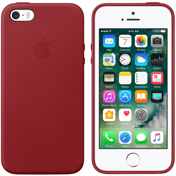 Apple kožený kryt na iPhone SE (PRODUCT)RED, červená