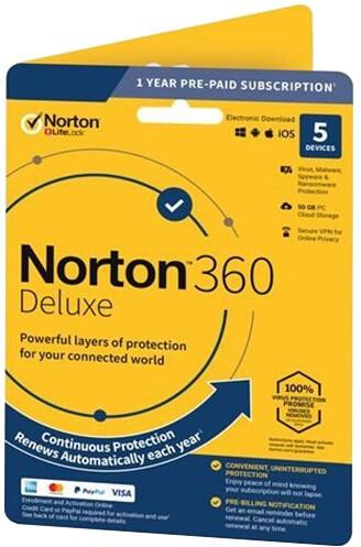 Symantec Norton 360 Deluxe 50GB + VPN 1 uživatel, 5 zařízení, 1 rok