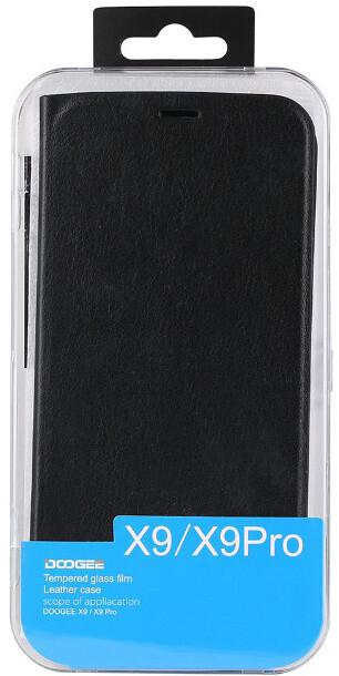 DooGee X9/X9 PRO Flip Case + Screen Protector Glass, černá