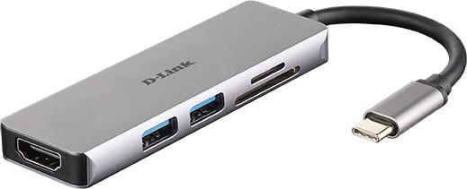 D-Link USB-C Hub 5v1, HDMI, čtečka karet SD/microSD