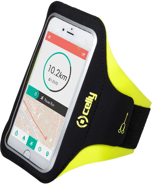 """CELLY ARMBAND sportovní neoprénové pouzdro, velikost XL pro telefony do 5"""", žluté"""