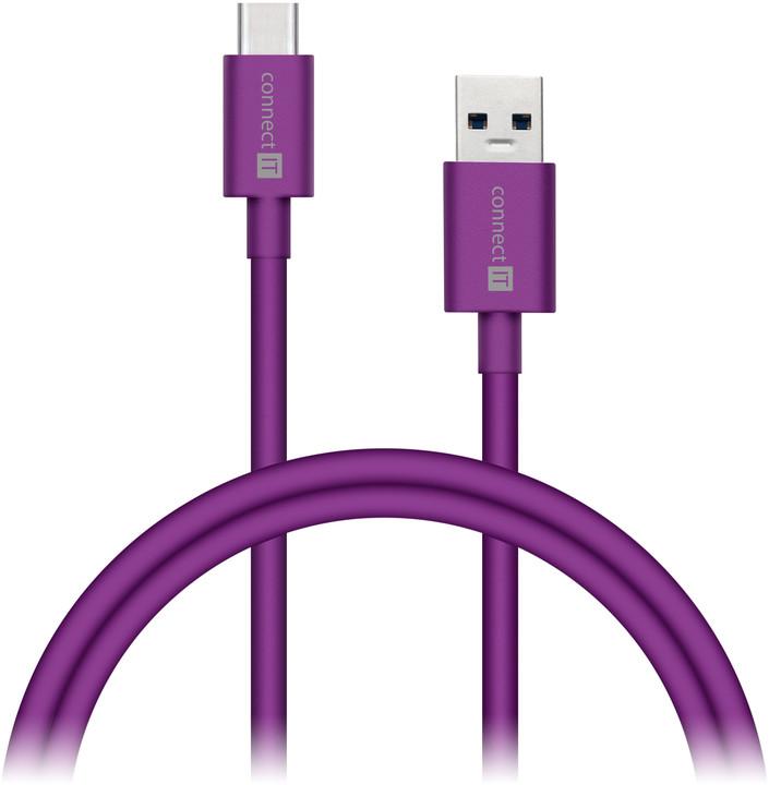 CONNECT IT Wirez COLORZ Kabel USB-C (Type C) - USB-A, 1 m, fialový